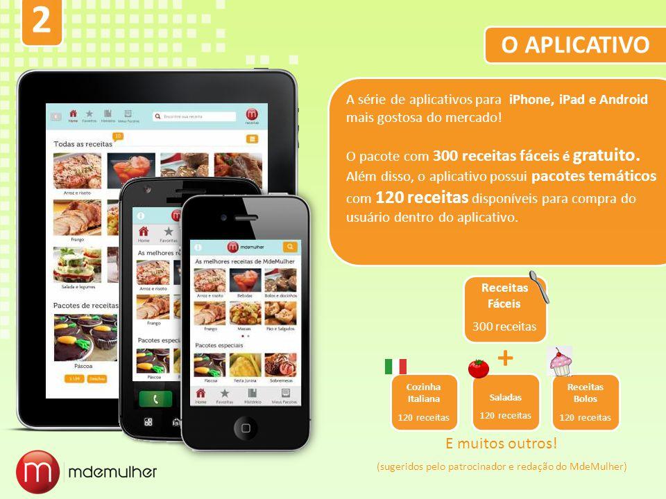 O APLICATIVO A série de aplicativos para iPhone, iPad e Android mais gostosa do mercado! O pacote com 300 receitas fáceis é gratuito. Além disso, o ap