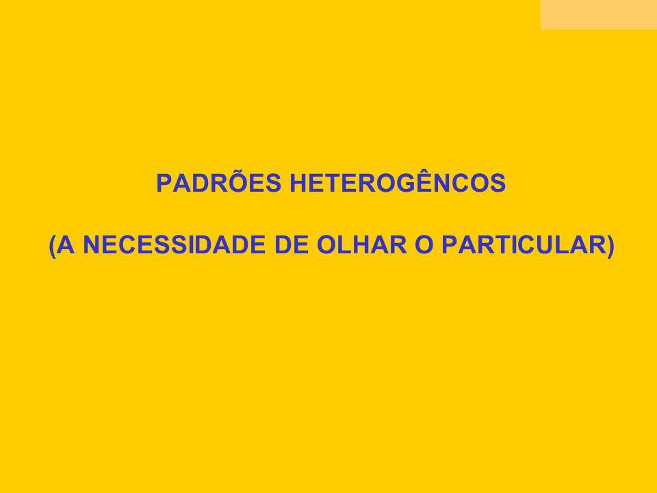 PADRÕES HETEROGÊNCOS (A NECESSIDADE DE OLHAR O PARTICULAR)