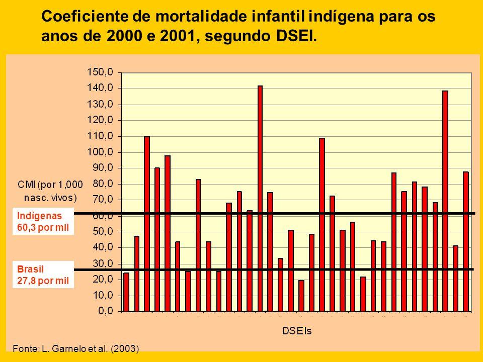 Brasil 27,8 por mil Indígenas 60,3 por mil Coeficiente de mortalidade infantil indígena para os anos de 2000 e 2001, segundo DSEI. Fonte: L. Garnelo e