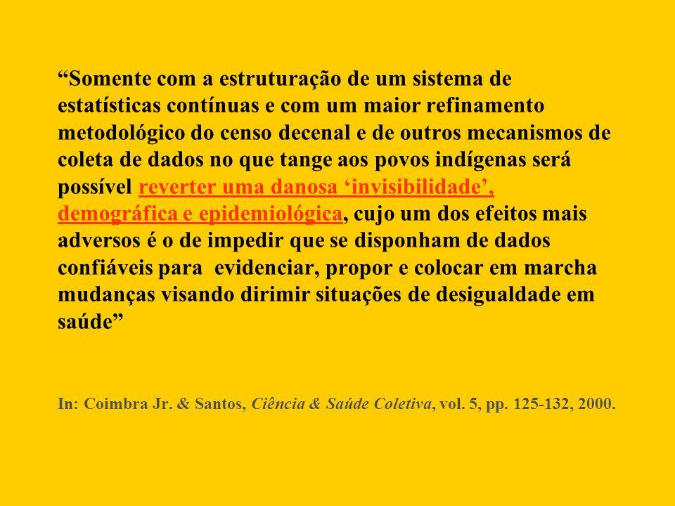 Brasil 27,8 por mil Indígenas 60,3 por mil Coeficiente de mortalidade infantil indígena para os anos de 2000 e 2001, segundo DSEI.