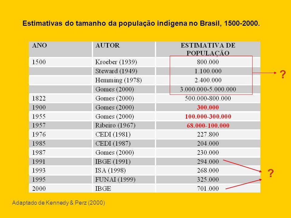 Adaptado de Kennedy & Perz (2000) Estimativas do tamanho da população indígena no Brasil, 1500-2000. ? ?