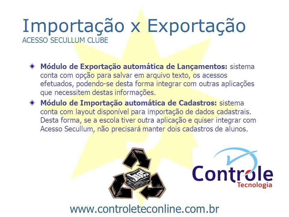 Importação x Exportação ACESSO SECULLUM CLUBE Módulo de Exportação automática de Lançamentos: sistema conta com opção para salvar em arquivo texto, os