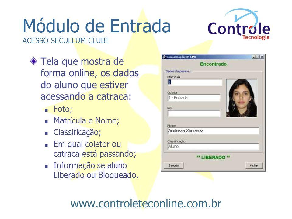 Módulo de Entrada ACESSO SECULLUM CLUBE Tela que mostra de forma online, os dados do aluno que estiver acessando a catraca:  Foto;  Matrícula e Nome