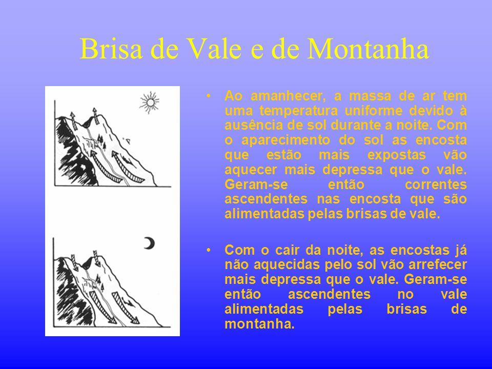 Brisa de Vale e de Montanha •Ao amanhecer, a massa de ar tem uma temperatura uniforme devido à ausência de sol durante a noite. Com o aparecimento do