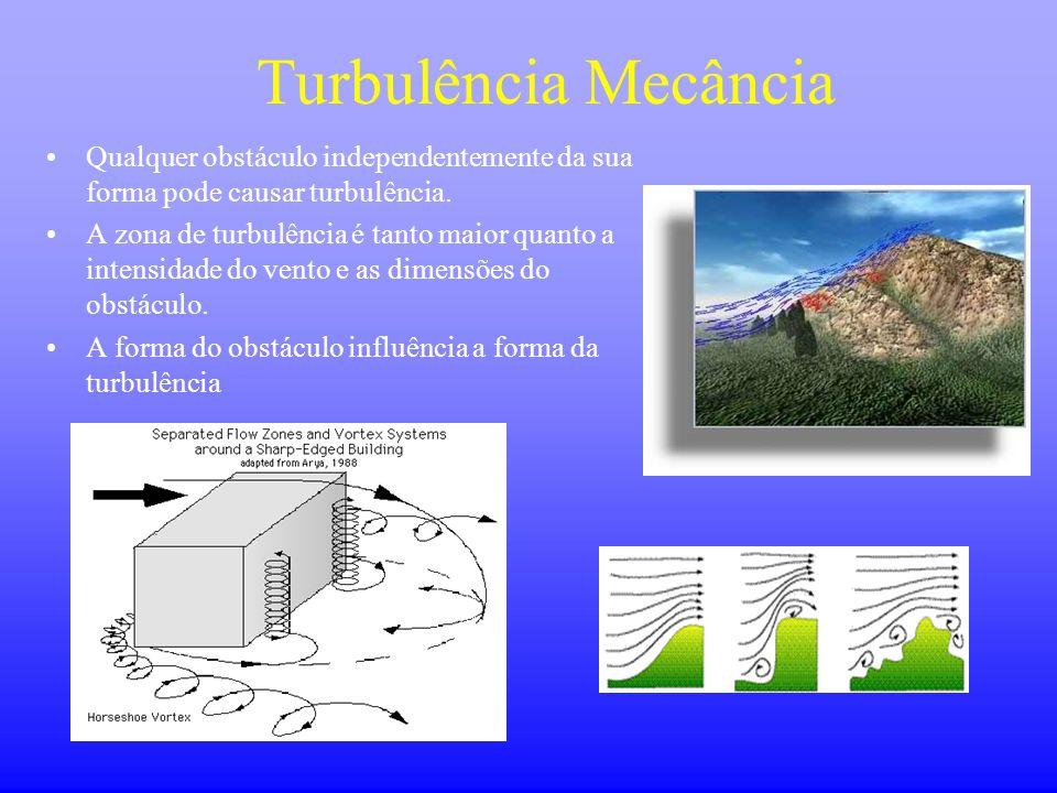 Turbulência Mecância •Qualquer obstáculo independentemente da sua forma pode causar turbulência. •A zona de turbulência é tanto maior quanto a intensi