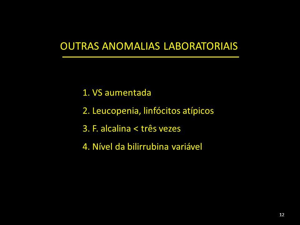 1.VS aumentada 2. Leucopenia, linfócitos atípicos 3.