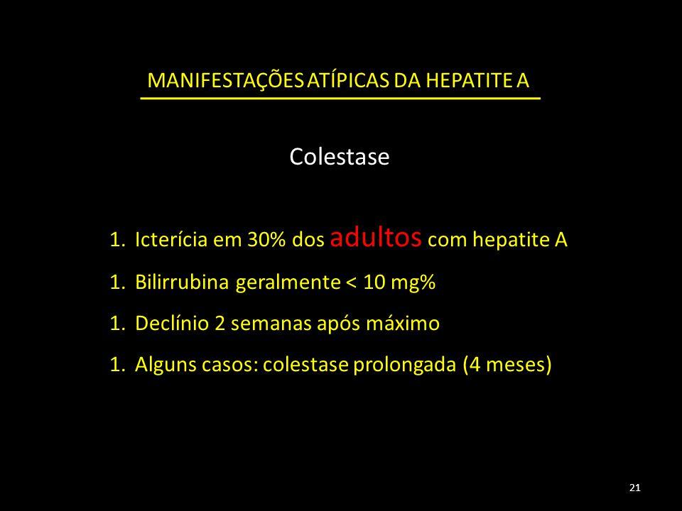 Colestase MANIFESTAÇÕES ATÍPICAS DA HEPATITE A 1.Icterícia em 30% dos adultos com hepatite A 1.Bilirrubina geralmente < 10 mg% 1.Declínio 2 semanas após máximo 1.Alguns casos: colestase prolongada (4 meses) 21