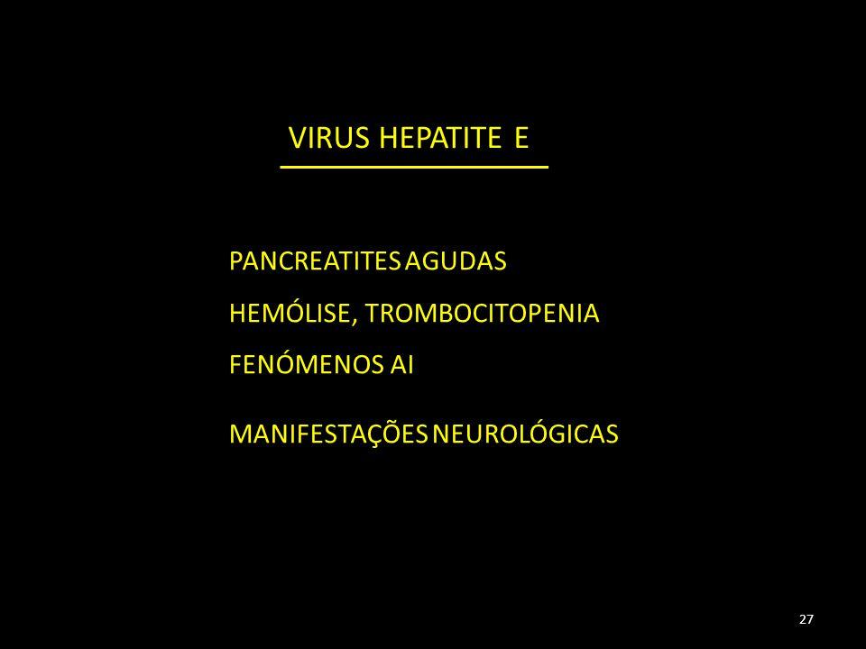27 PANCREATITES AGUDAS HEMÓLISE, TROMBOCITOPENIA FENÓMENOS AI MANIFESTAÇÕES NEUROLÓGICAS VIRUS HEPATITE E