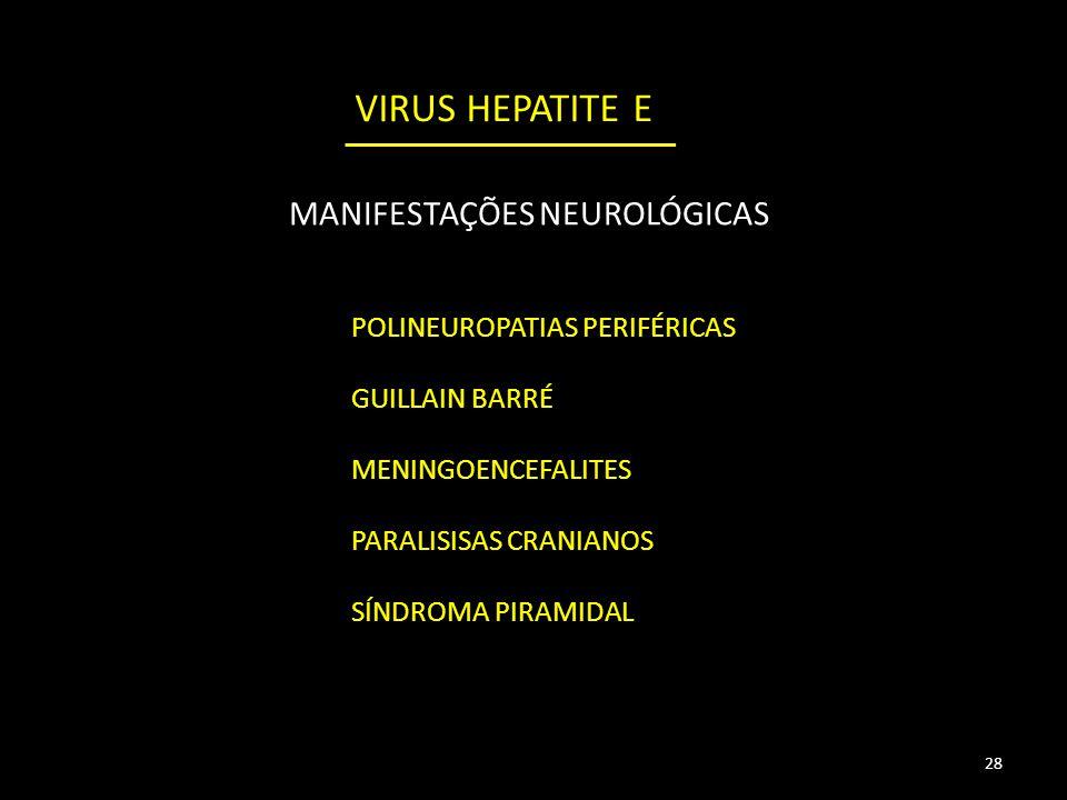 28 POLINEUROPATIAS PERIFÉRICAS GUILLAIN BARRÉ MENINGOENCEFALITES PARALISISAS CRANIANOS SÍNDROMA PIRAMIDAL MANIFESTAÇÕES NEUROLÓGICAS VIRUS HEPATITE E