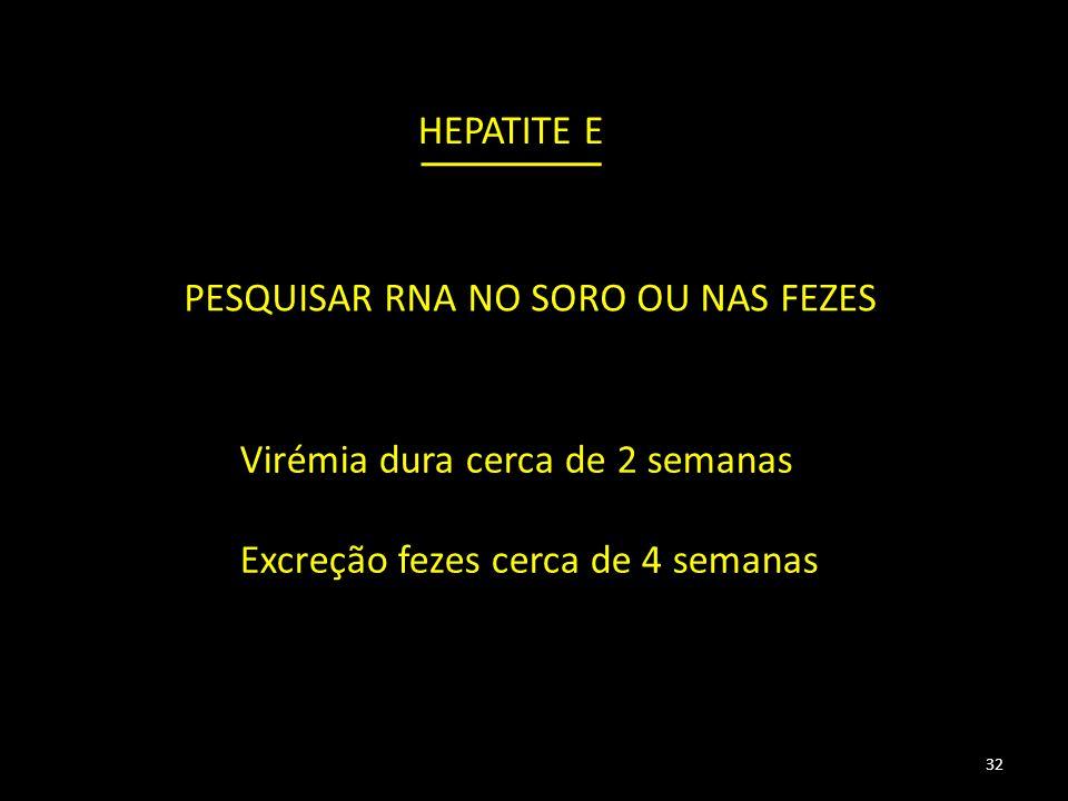 PESQUISAR RNA NO SORO OU NAS FEZES 32 HEPATITE E Virémia dura cerca de 2 semanas Excreção fezes cerca de 4 semanas