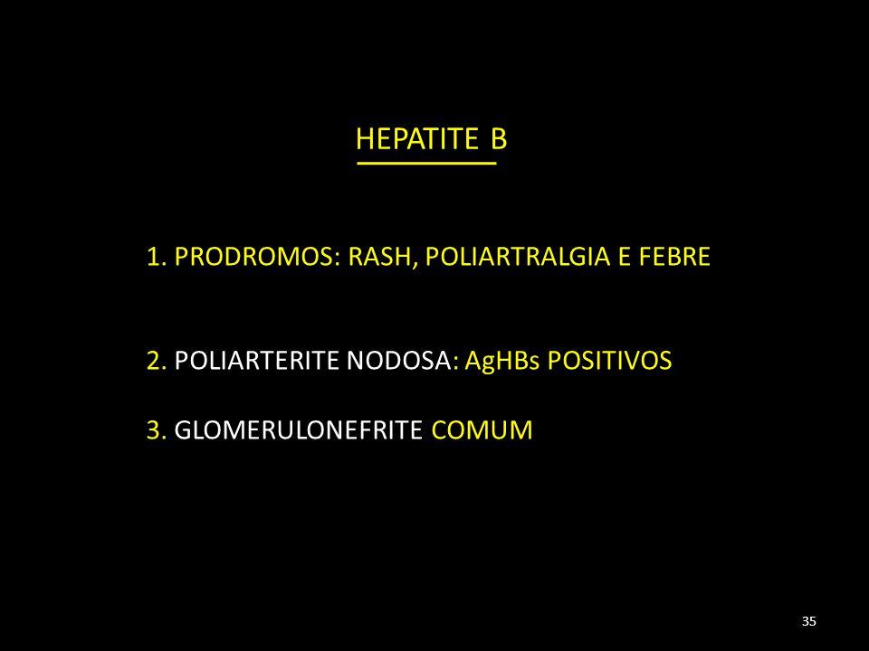 HEPATITE B 1.PRODROMOS: RASH, POLIARTRALGIA E FEBRE 2.