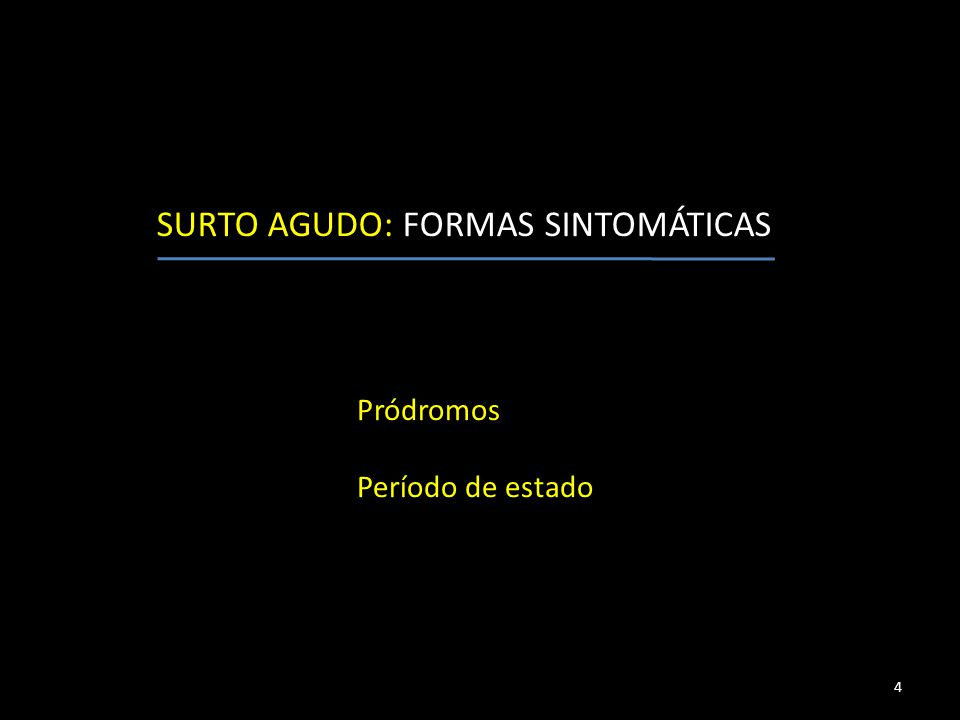 Pródromos Período de estado 4 SURTO AGUDO: FORMAS SINTOMÁTICAS
