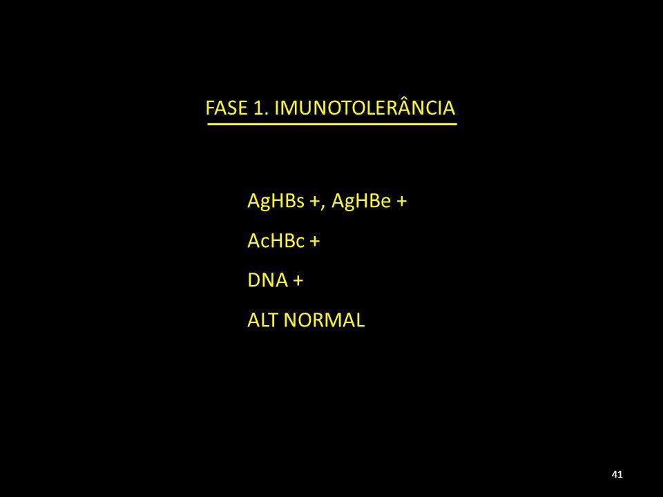 FASE 1. IMUNOTOLERÂNCIA AgHBs +, AgHBe + AcHBc + DNA + ALT NORMAL 41