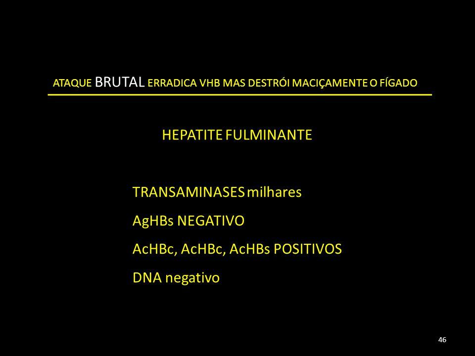 ATAQUE BRUTAL ERRADICA VHB MAS DESTRÓI MACIÇAMENTE O FÍGADO HEPATITE FULMINANTE TRANSAMINASES milhares AgHBs NEGATIVO AcHBc, AcHBc, AcHBs POSITIVOS DNA negativo 46
