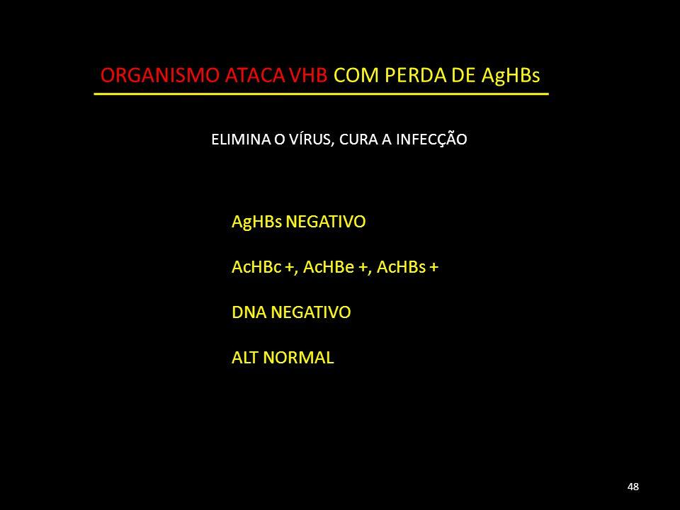 AgHBs NEGATIVO AcHBc +, AcHBe +, AcHBs + DNA NEGATIVO ALT NORMAL 48 ORGANISMO ATACA VHB COM PERDA DE AgHBs ELIMINA O VÍRUS, CURA A INFECÇÃO
