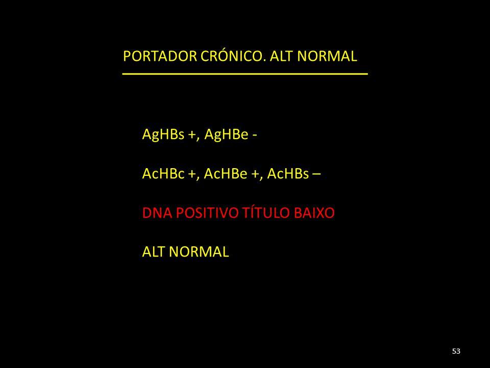 AgHBs +, AgHBe - AcHBc +, AcHBe +, AcHBs – DNA POSITIVO TÍTULO BAIXO ALT NORMAL 53 PORTADOR CRÓNICO.