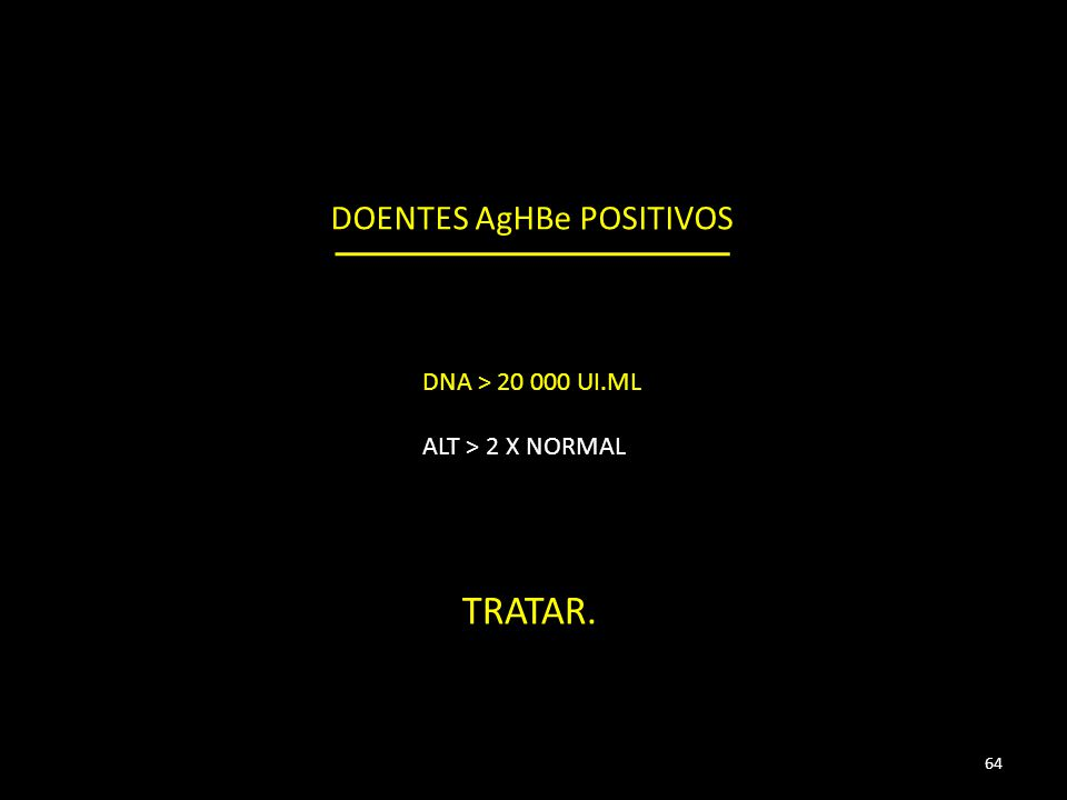 DOENTES AgHBe POSITIVOS DNA > 20 000 UI.ML ALT > 2 X NORMAL TRATAR. 64
