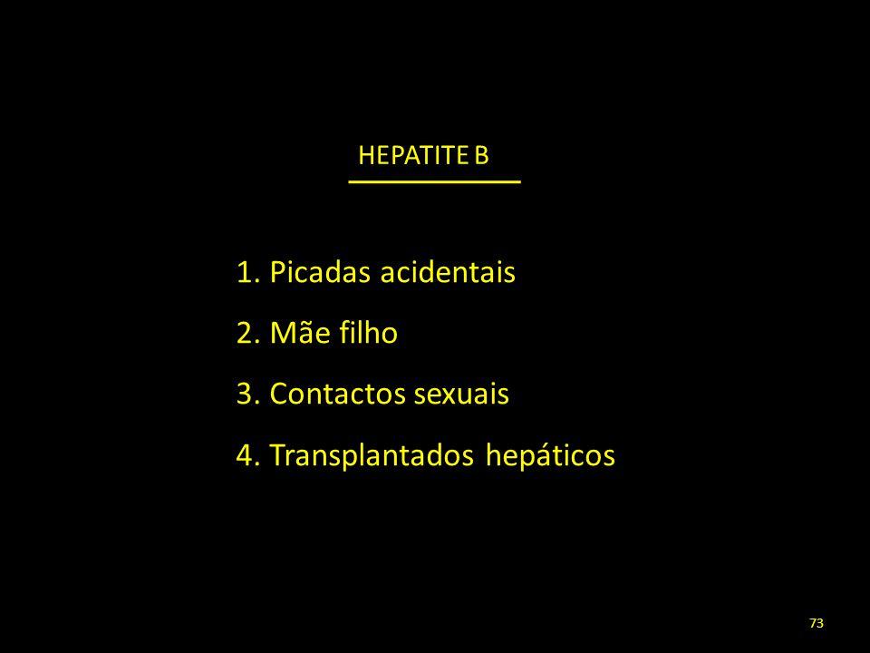 1. Picadas acidentais 2. Mãe filho 3. Contactos sexuais 4. Transplantados hepáticos 73 HEPATITE B