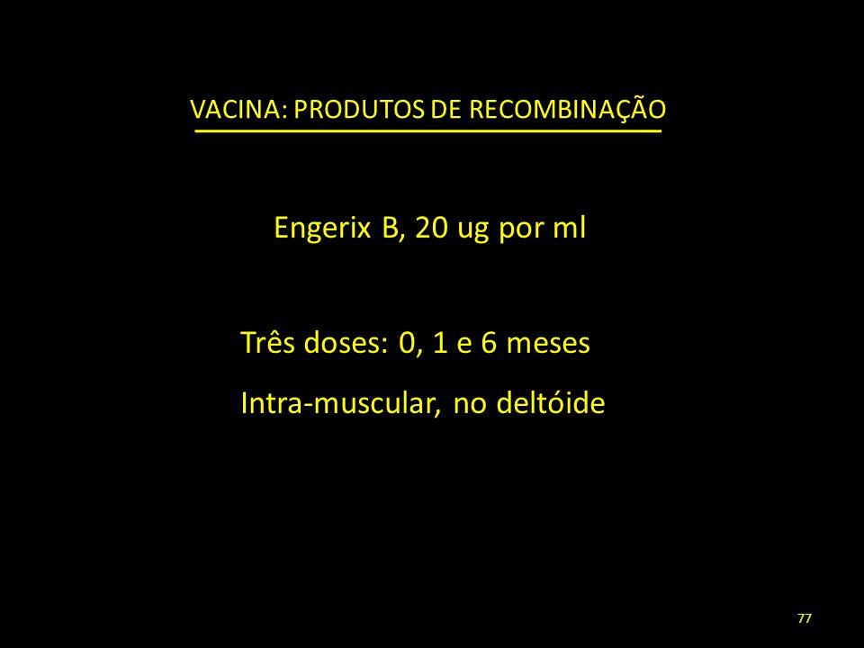 Três doses: 0, 1 e 6 meses Intra-muscular, no deltóide VACINA: PRODUTOS DE RECOMBINAÇÃO Engerix B, 20 ug por ml 77
