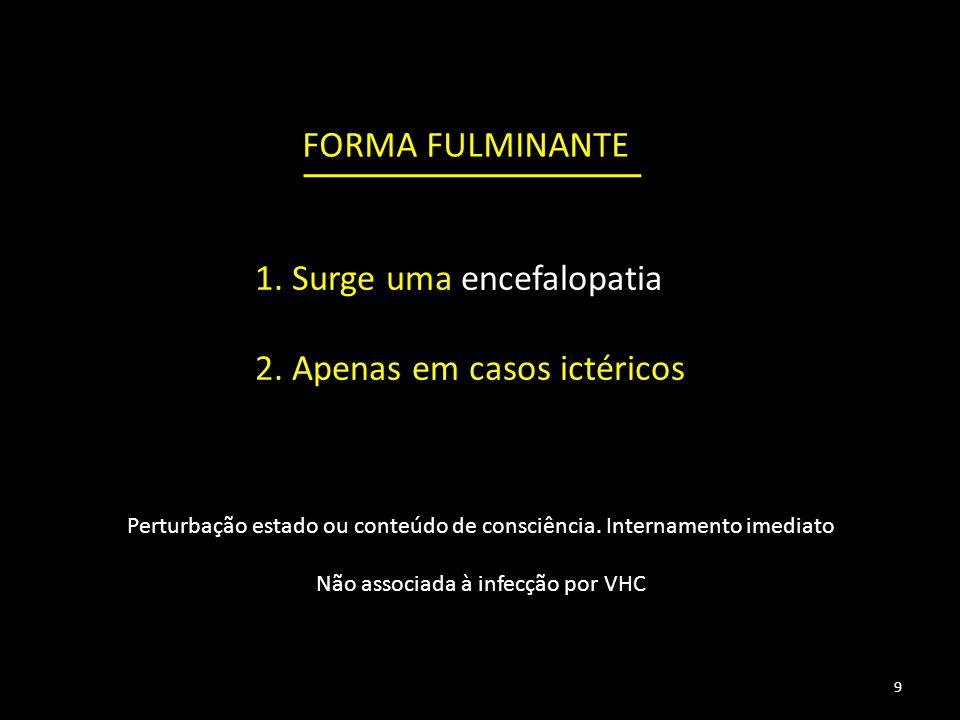 FORMA FULMINANTE 1.Surge uma encefalopatia 2.