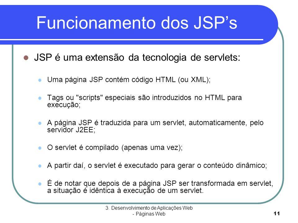 3. Desenvolvimento de Aplicações Web - Páginas Web11 Funcionamento dos JSP's  JSP é uma extensão da tecnologia de servlets:  Uma página JSP contém c