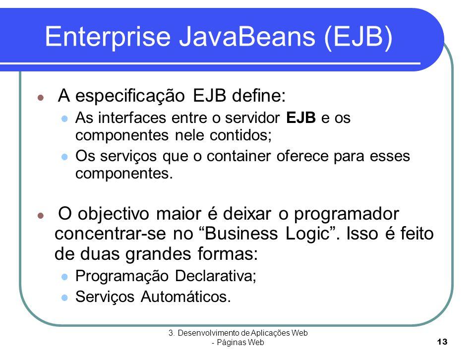 3. Desenvolvimento de Aplicações Web - Páginas Web13 Enterprise JavaBeans (EJB)  A especificação EJB define:  As interfaces entre o servidor EJB e o