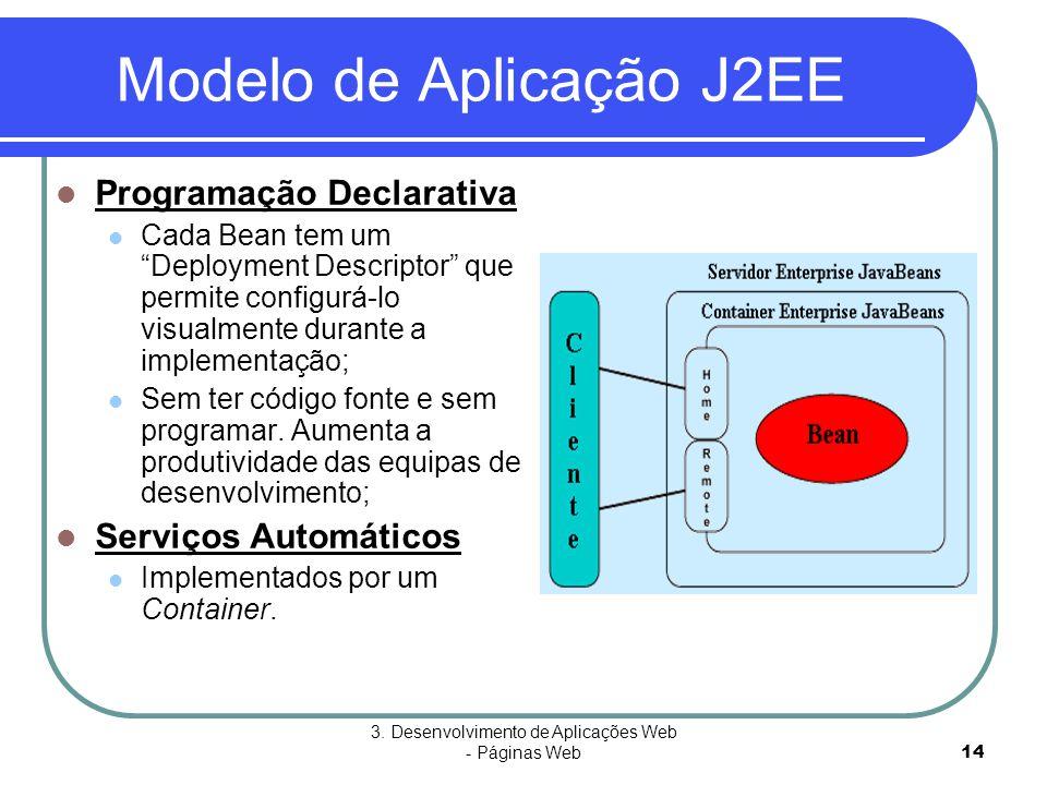 """3. Desenvolvimento de Aplicações Web - Páginas Web14 Modelo de Aplicação J2EE  Programação Declarativa  Cada Bean tem um """"Deployment Descriptor"""" que"""