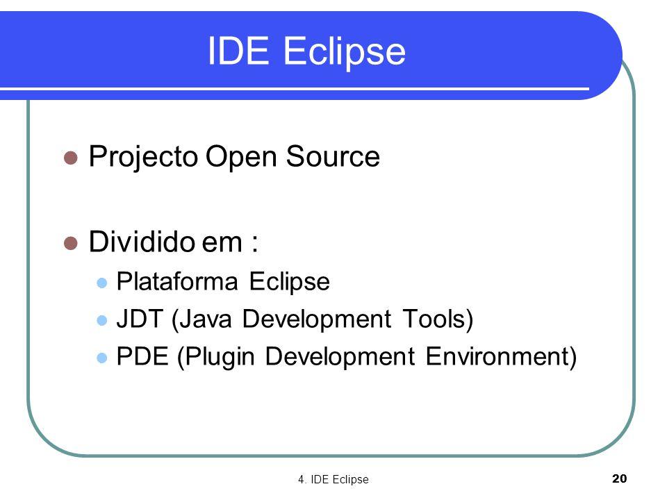 4. IDE Eclipse20 IDE Eclipse  Projecto Open Source  Dividido em :  Plataforma Eclipse  JDT (Java Development Tools)  PDE (Plugin Development Envi