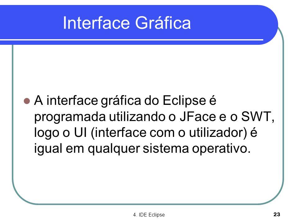 4. IDE Eclipse23 Interface Gráfica  A interface gráfica do Eclipse é programada utilizando o JFace e o SWT, logo o UI (interface com o utilizador) é