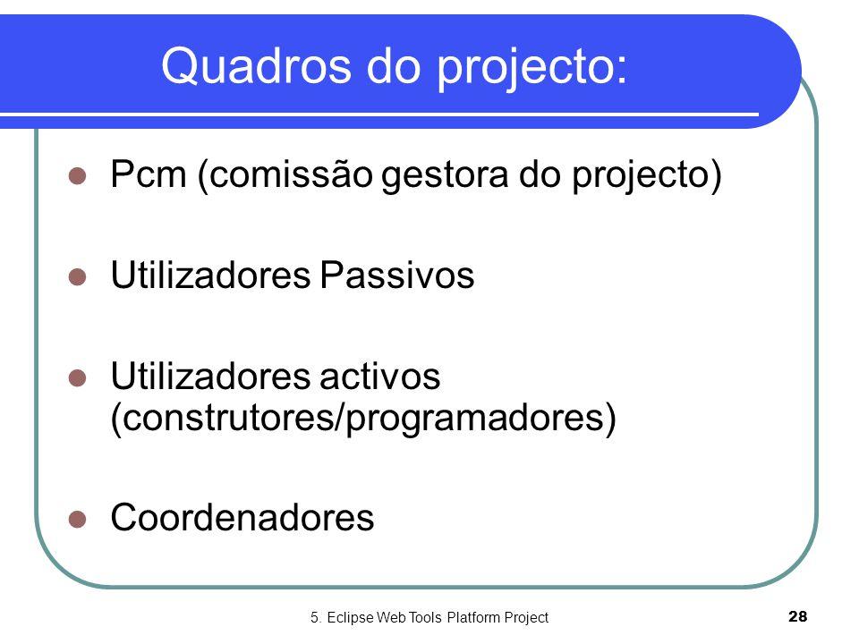 5. Eclipse Web Tools Platform Project28 Quadros do projecto:  Pcm (comissão gestora do projecto)  Utilizadores Passivos  Utilizadores activos (cons