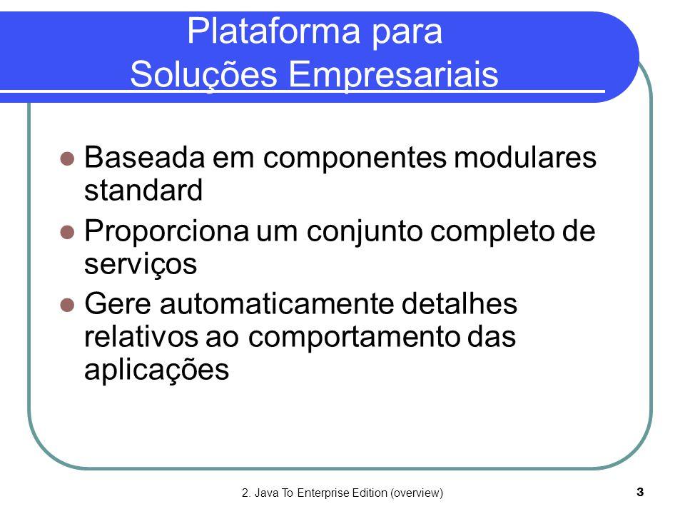 2. Java To Enterprise Edition (overview)3 Plataforma para Soluções Empresariais  Baseada em componentes modulares standard  Proporciona um conjunto