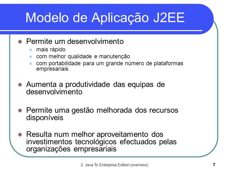 2. Java To Enterprise Edition (overview)7 Modelo de Aplicação J2EE  Permite um desenvolvimento  mais rápido  com melhor qualidade e manutenção  co