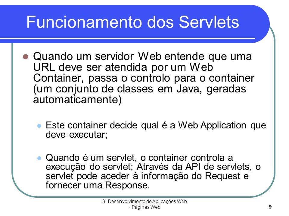 3. Desenvolvimento de Aplicações Web - Páginas Web9 Funcionamento dos Servlets  Quando um servidor Web entende que uma URL deve ser atendida por um W