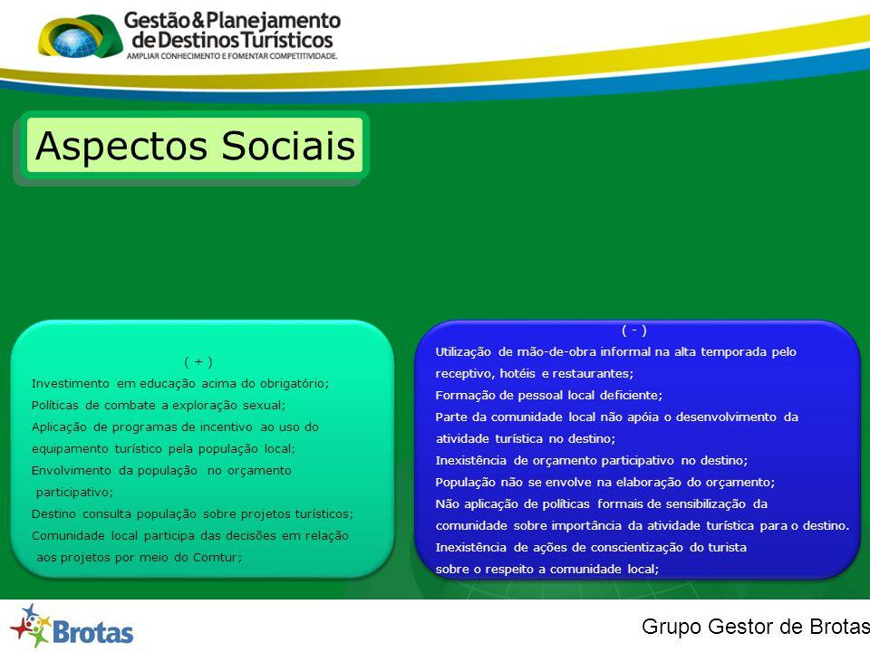 Grupo Gestor de Brotas Aspectos Sociais ( + ) Investimento em educação acima do obrigatório; Políticas de combate a exploração sexual; Aplicação de pr