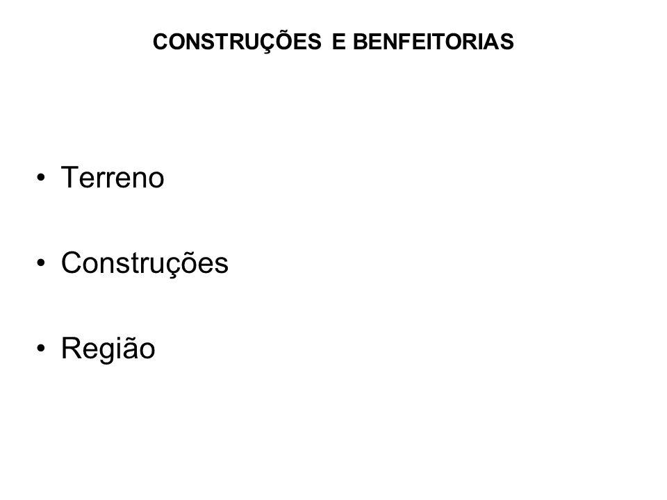•Terreno •Construções •Região CONSTRUÇÕES E BENFEITORIAS