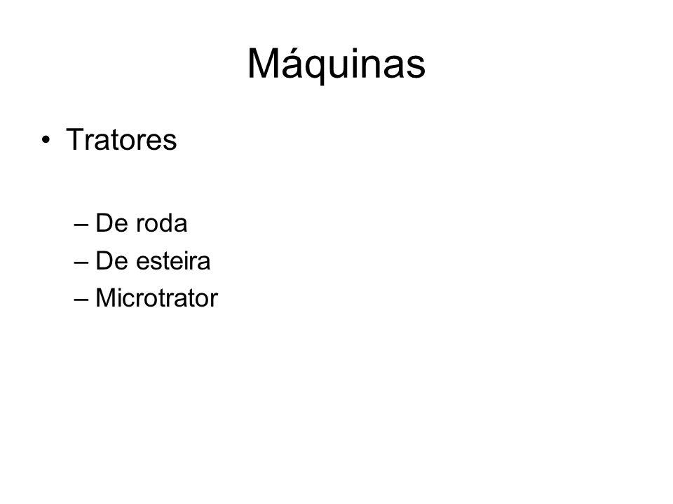 Máquinas •Tratores –De roda –De esteira –Microtrator