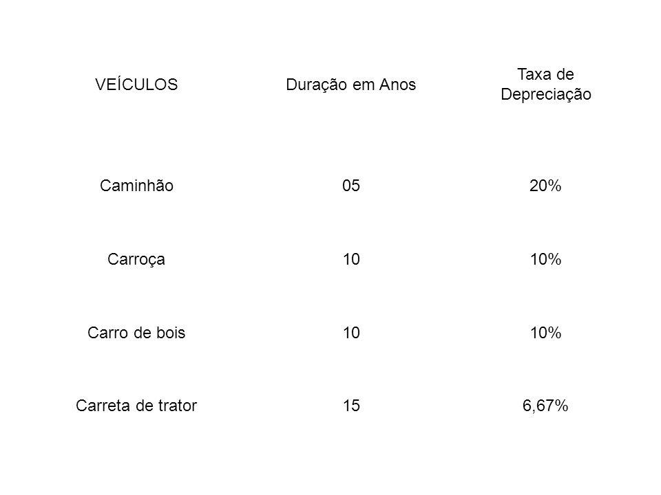 VEÍCULOSDuração em Anos Taxa de Depreciação Caminhão0520% Carroça1010% Carro de bois1010% Carreta de trator156,67%