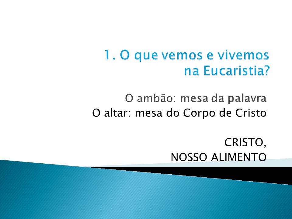 O ambão: mesa da palavra O altar: mesa do Corpo de Cristo CRISTO, NOSSO ALIMENTO
