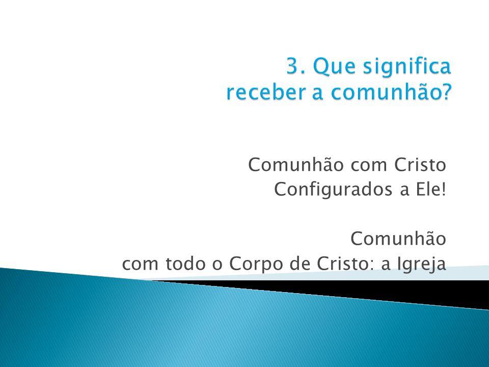 Comunhão com Cristo Configurados a Ele! Comunhão com todo o Corpo de Cristo: a Igreja