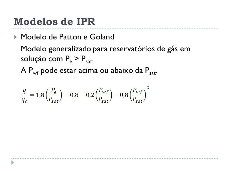 Modelos de IPR  Modelo de Patton e Goland Modelo generalizado para reservatórios de gás em solução com P e > P sat. A P wf pode estar acima ou abaixo
