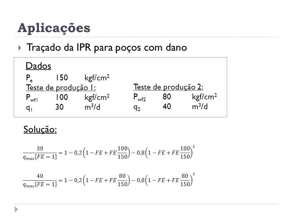 Aplicações  Traçado da IPR para poços com dano Dados Solução: P e 150kgf/cm 2 Teste de produção 1: P wf1 100kgf/cm 2 q 1 30m 3 /d Teste de produção 2