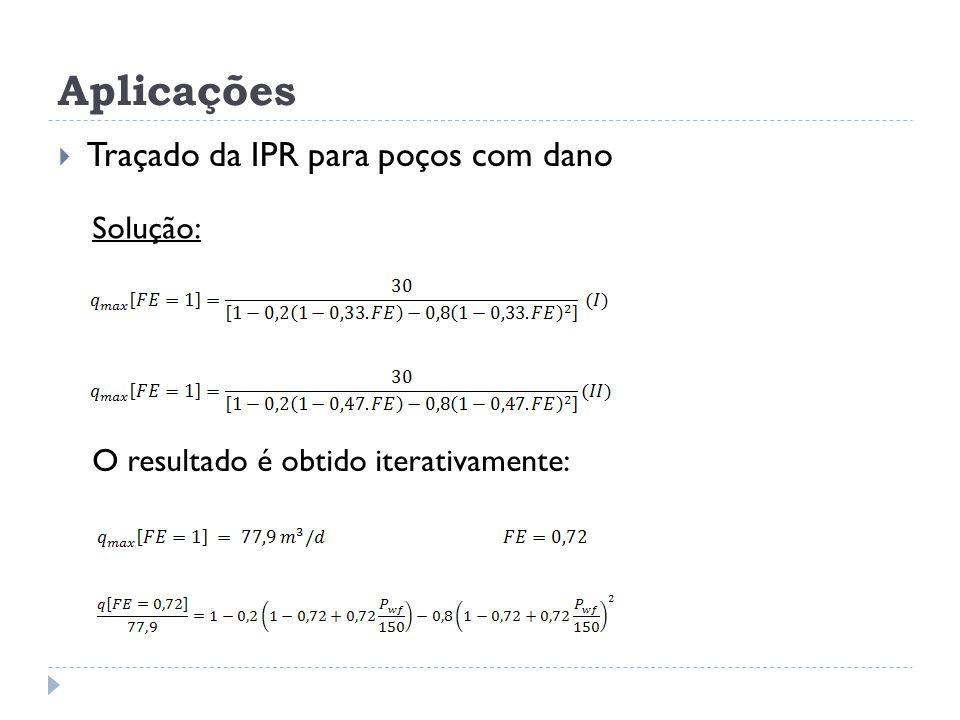 Aplicações  Traçado da IPR para poços com dano Solução: O resultado é obtido iterativamente: