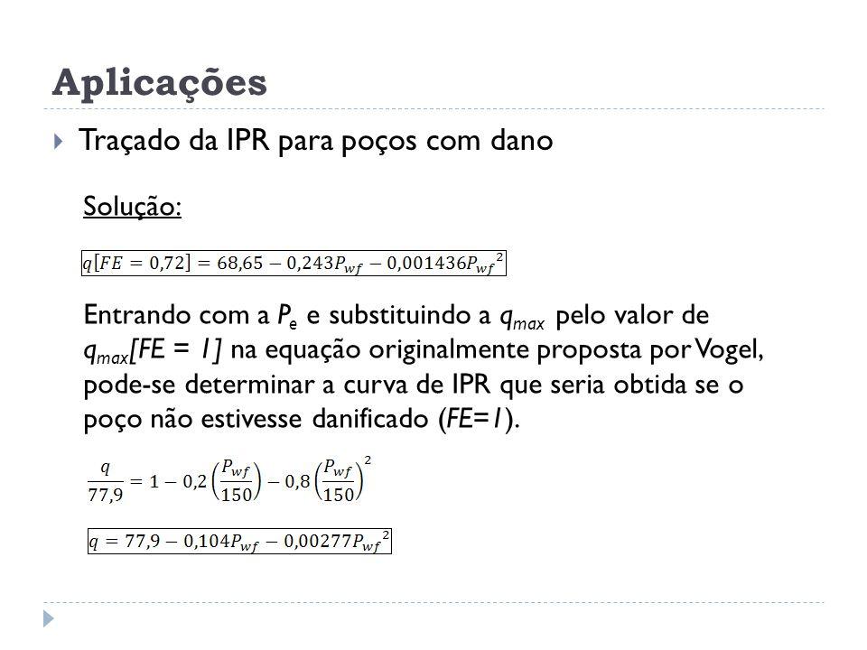 Aplicações  Traçado da IPR para poços com dano Solução: Entrando com a P e e substituindo a q max pelo valor de q max [FE = 1] na equação originalmen