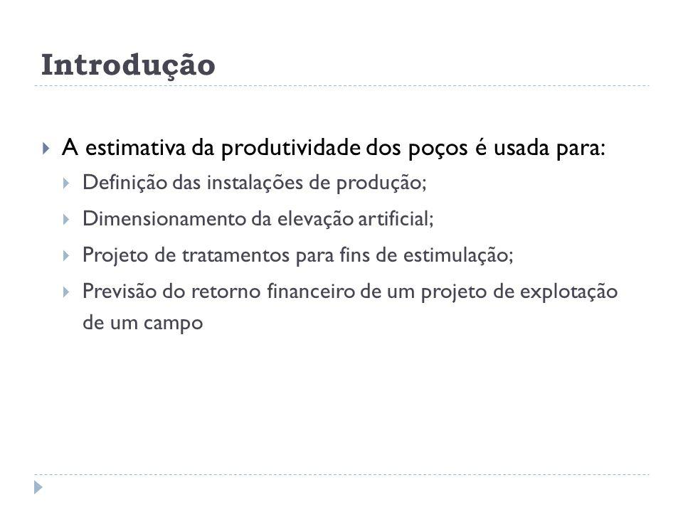 Introdução  A estimativa da produtividade dos poços é usada para:  Definição das instalações de produção;  Dimensionamento da elevação artificial;