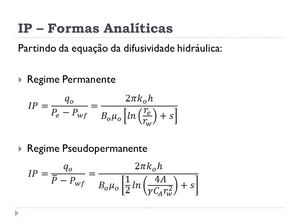 IP – Formas Analíticas Partindo da equação da difusividade hidráulica:  Regime Permanente  Regime Pseudopermanente