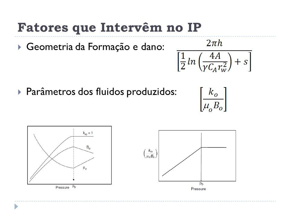 Fatores que Intervêm no IP  Geometria da Formação e dano:  Parâmetros dos fluidos produzidos:
