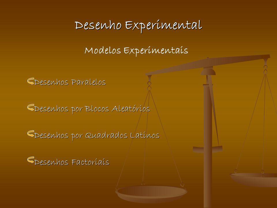 Desenho Experimental Desenhos Paralelos Desenhos Paralelos Desenhos por Blocos Aleatórios Desenhos por Blocos Aleatórios Desenhos por Quadrados Latino