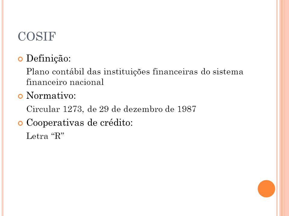 COSIF Definição: Plano contábil das instituições financeiras do sistema financeiro nacional Normativo: Circular 1273, de 29 de dezembro de 1987 Cooperativas de crédito: Letra R