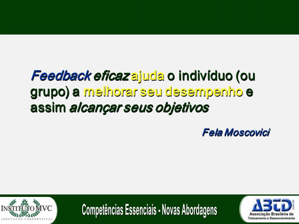Feedback eficaz ajuda o indivíduo (ou grupo) a melhorar seu desempenho e assim alcançar seus objetivos Fela Moscovici Feedback eficaz ajuda o indivídu