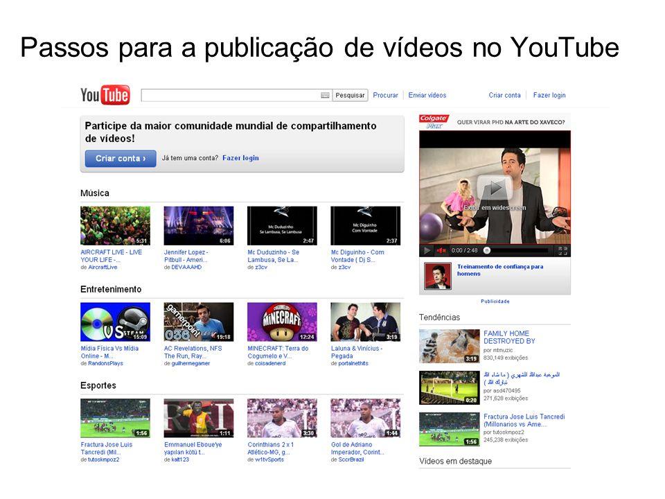Passos para a publicação de vídeos no YouTube